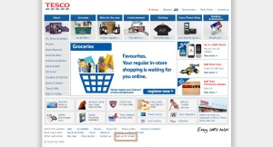 Tesco Home page